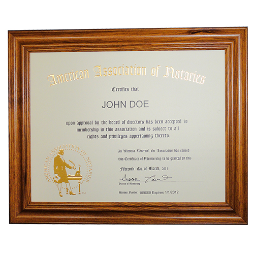 American Association of Notaries Deluxe Membership Certificate Frame